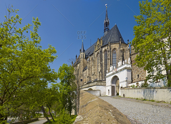 May 7, 2013: Castle driveway with collegiate and castle church St. Georg from Altenburg Castle, Thuringia, Germany,