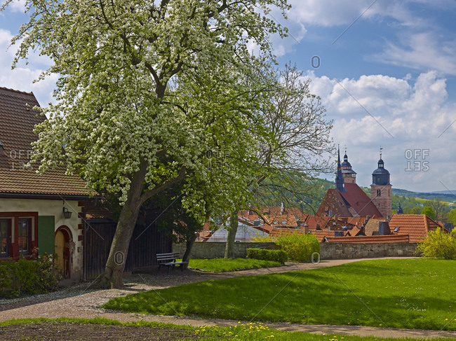 Panoramic view over the old town with St. George's Church in Schmalkalden, Thuringia, Germany,