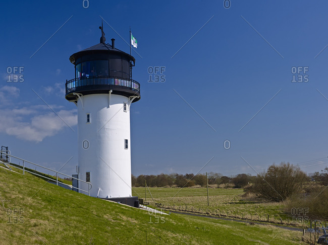 Lighthouse Dicke Berta near Altenbruch, Cuxhaven, Lower Saxony, Germany,