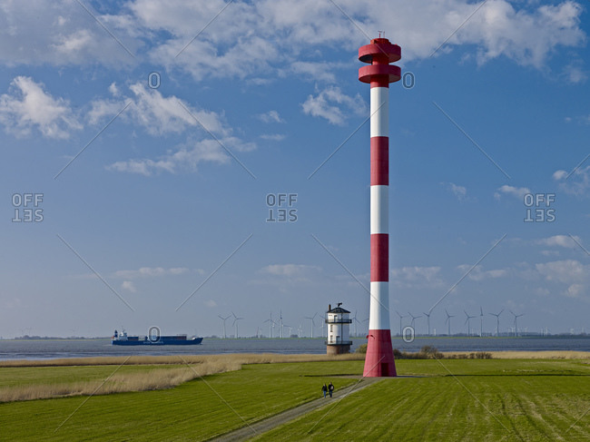 Lighthouse and beacon Balje on the Elbe, Nordkehdingen, Landkreis Stade, Lower Saxony, Germany,