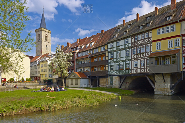 April 29, 2013: Chandler Bridge with Aegidien Tower in Erfurt, Thuringia, Germany,