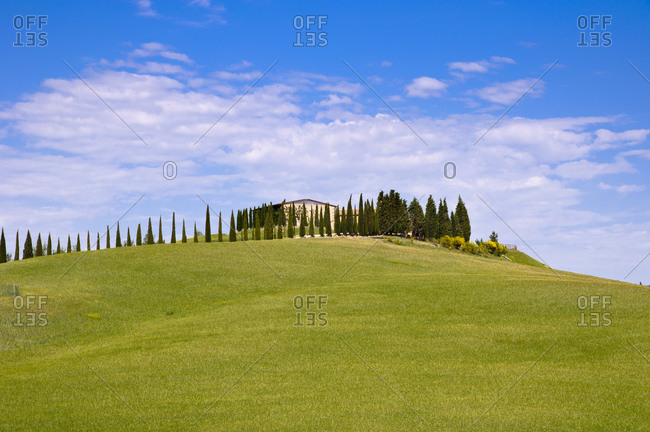 Country house in typical Tuscan landscape, Tuscany, Italy,