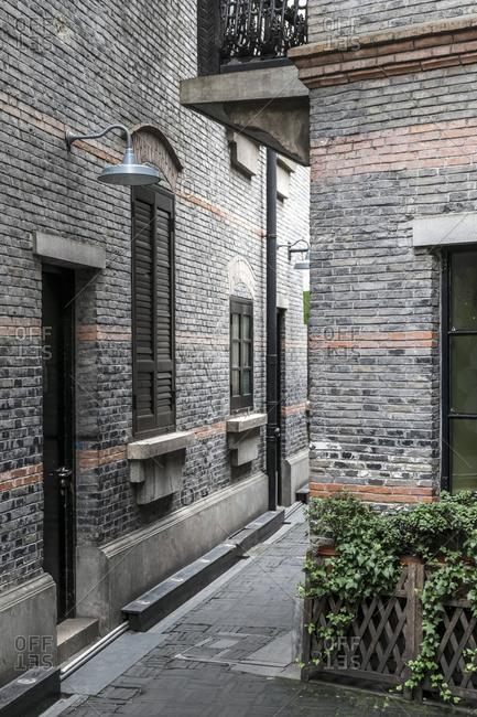 October 19, 2013: Narrow streets, trendy Xintiandi district, Puxi, Shanghai, China