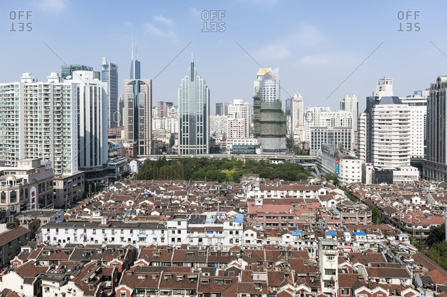 October 21, 2013: Historic and modern buildings, urban development, Renmin Road, Puxi, Shanghai, China, Asia