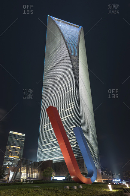 October 23, 2013: Shanghai World Financial Center at night, SWFC, Lujiazui, Pudong, Shanghai, China