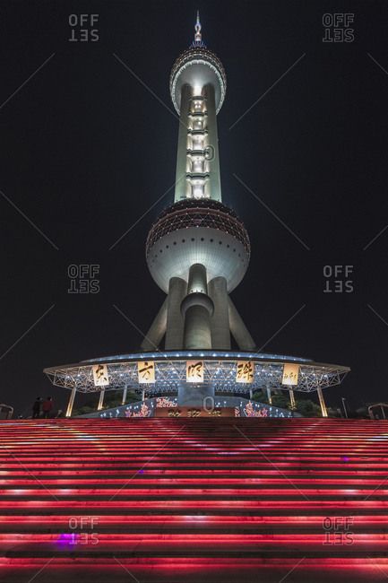 October 21, 2013: Oriental Pearl Tower at night, Lujiazui, Pudong, Shanghai, China