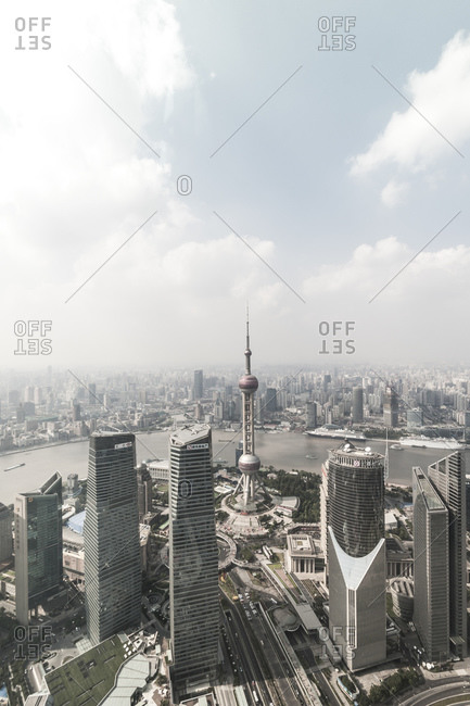 October 20, 2013: View of Oriental Pearl Tower, Lujiazui financial district, Pudong, Shanghai, China