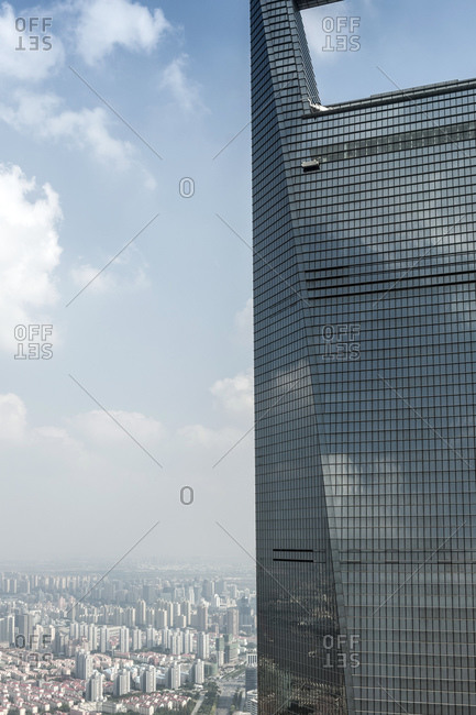October 20, 2013: View of SWFC from Jin Mao Tower, Lujiazui, Pudong, Shanghai, China