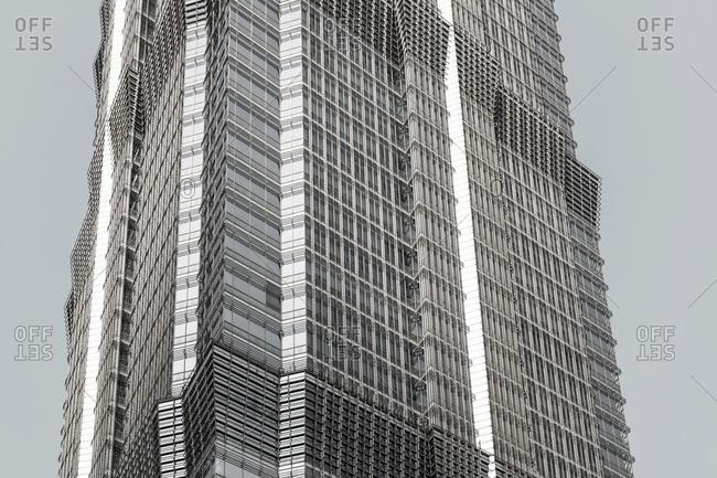 October 20, 2013: Facade, Jin Mao Tower, Lujiazui Financial District, Pudong, Shanghai, China