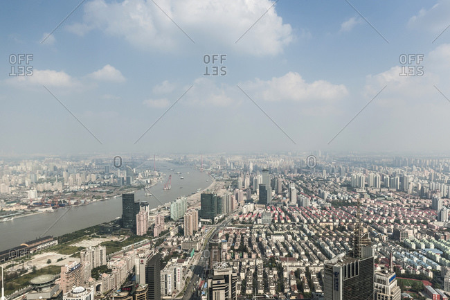 October 20, 2013: View of Pudong, Lujiazui, Shanghai, China