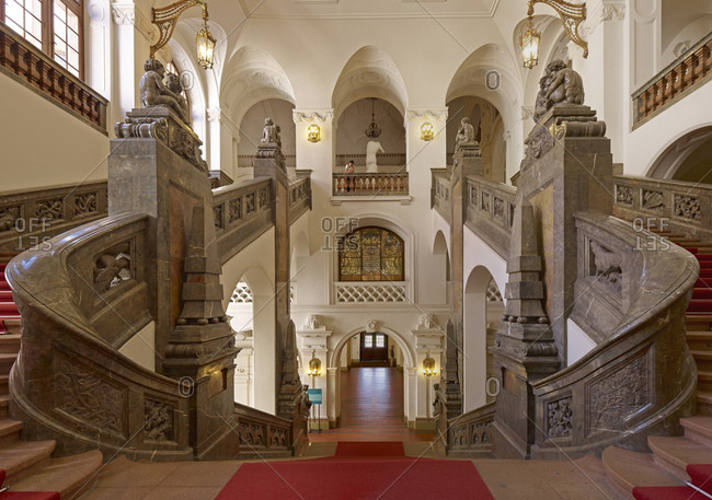 May 20, 2011: Staircase in the New Town Hall in Leipzig, Saxony, Germany