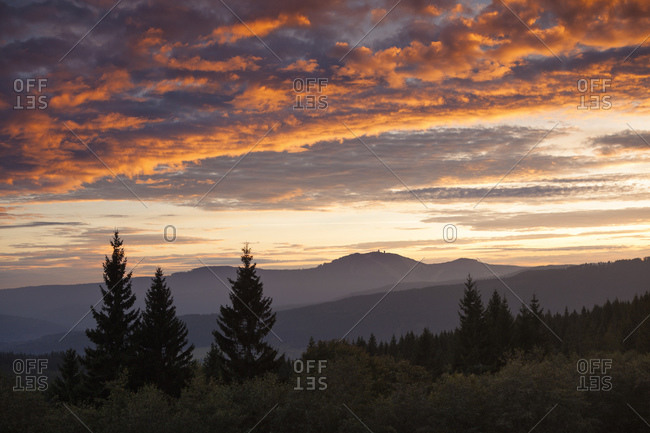 View of the Great Arber in the Bavarian Forest, Bohemian Forest, Czech Republic