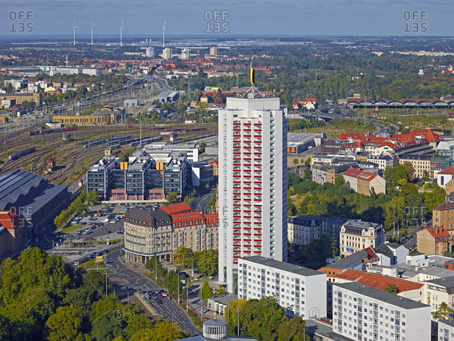 September 29, 2013: Winter garden high-rise with central station in Leipzig, Saxony, Germany