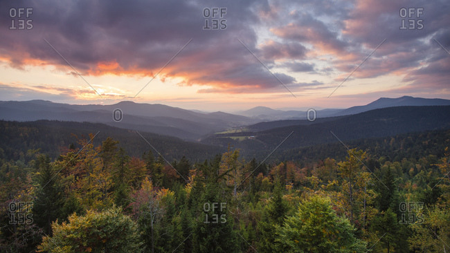 View from the Hindenburg pulpit to Lamer Winkel at sunset, Bavarian Forest, Bavaria, Germany