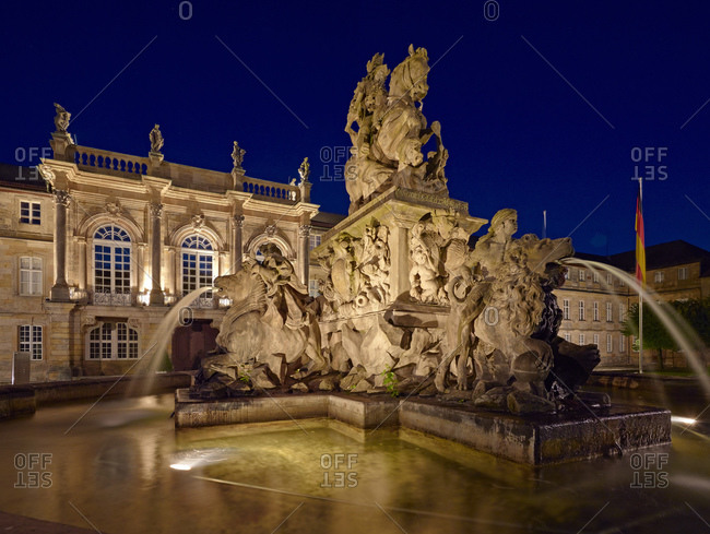 September 28, 2013: Margrave fountain in front of the New Castle in Bayreuth, Upper Franconia, Bavaria, Germany