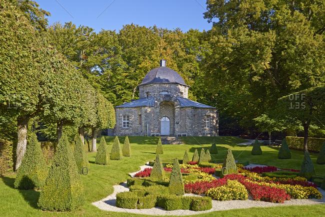 September 28, 2013: Oriental construction on the rock garden in Sanspareil, part of Wonsees, Upper Franconia, Bavaria, Germany
