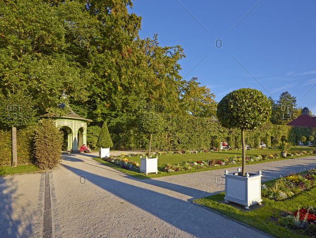 September 28, 2013: Flowerbeds at the Old Castle of the Hermitage in Bayreuth, Upper Franconia, Bavaria, Germany