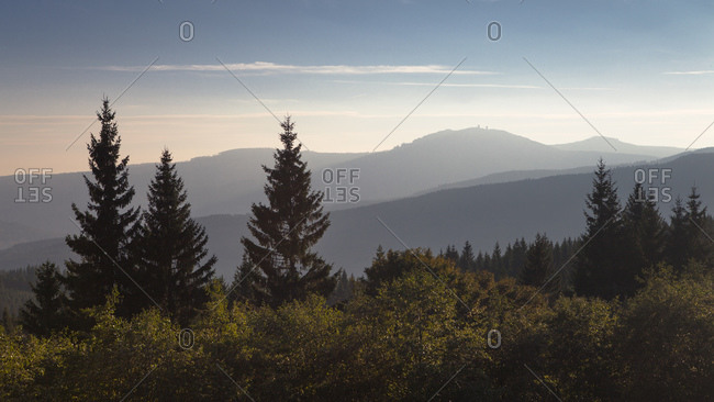 September 28, 2013: View of the Great Arber in the Bavarian Forest, Bohemian Forest, Czech Republic
