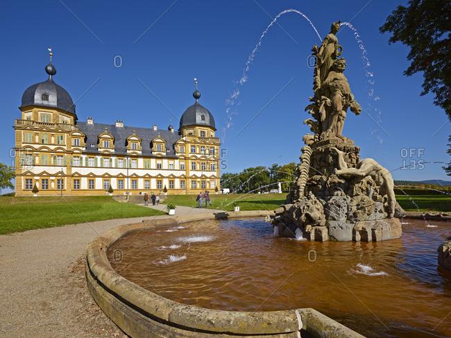 September 28, 2013: Cascade in the park of the Schloss Seehof in Memmelsdorf, Upper Franconia, Bavaria, Germany