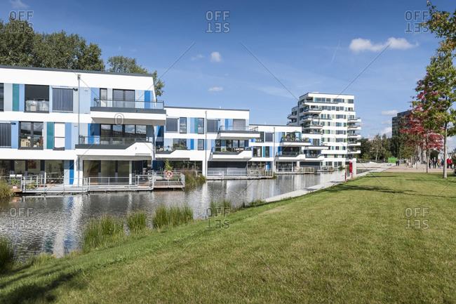 September 28, 2013: Water houses, Elbinsel, Hanseatic City of Hamburg, Germany