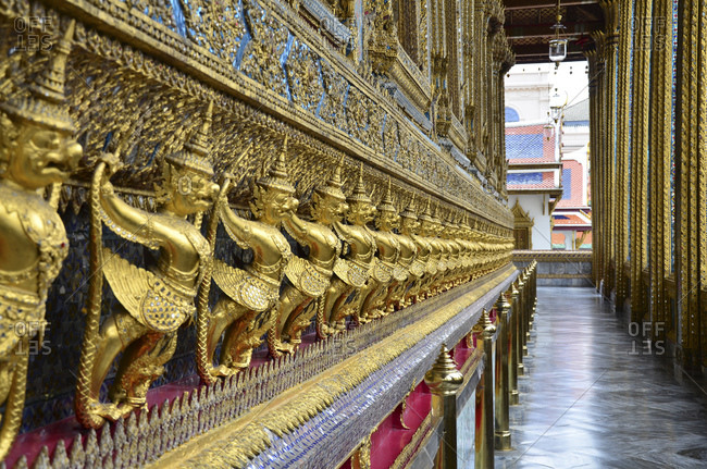 Garuda figures in the Temple of the Emerald Buddha Wat Phra Kaeo, Grand Palace, Bangkok, Thailand, Southeast Asia