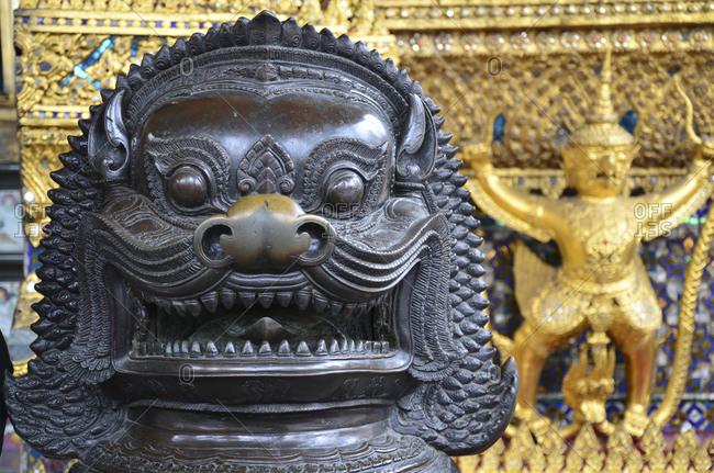 Garuda figures in the Temple of the Emerald Buddha Wat Phra Kaeo, Grand Palace, Bangkok, Thailand, Southeast Asia