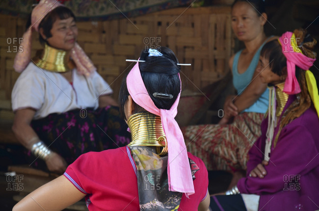 April 10, 2010: Padaung women from the Karen tribe with traditional necklaces, Thailand, Southeast Asia