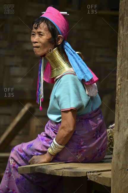 April 10, 2010: Padaung woman from the Karen tribe with traditional necklaces, Thailand, Southeast Asia