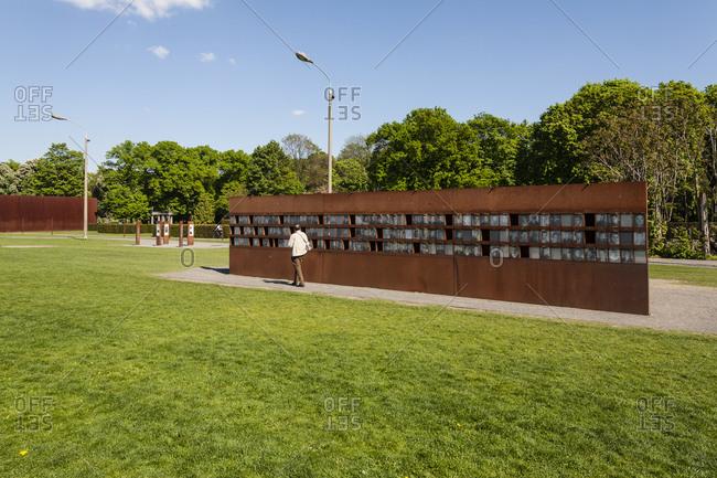 April 28, 2014: Berlin Wall Memorial, Bernauer Strasse, Wedding Border, Berlin Mitte, Germany, Europe