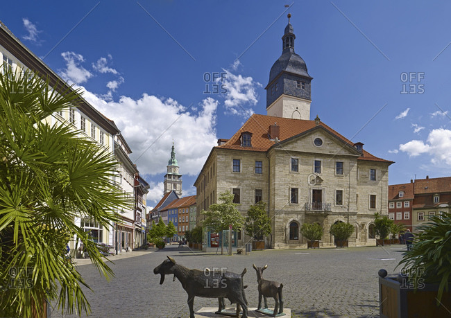Markts route with town hall in Bad Langensalza, Thuringia, Germany, Europe