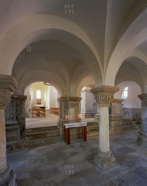 May 15, 2014: Romanesque basilica of St. Gangolf in Munchenlohra, district of Nordhausen, Thuringia, Germany, Europe