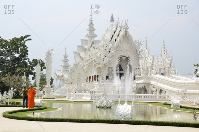 April 12, 2010: Buddhist-Hindu temple complex Wat Rong Khun, Chiang Rai Province, Thailand, Southeast Asia