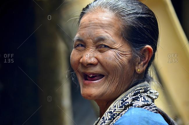 October 19, 2011: Smiling old Toraja woman, Rantepao, Toraja highlands, Tana Toraja, Sulawesi, Indonesia, Southeast Asia