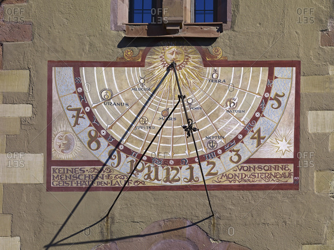 April 17, 2014: Sundial at Grafeneckart Old Town Hall in Wuerzburg, Lower Franconia, Bavaria, Germany, Europe
