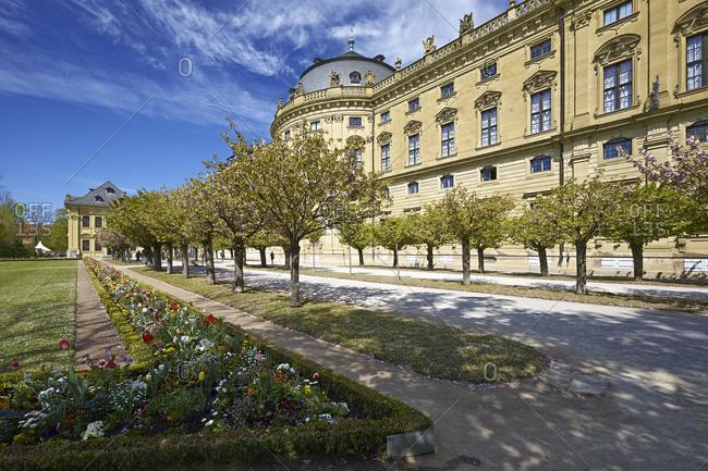 Hofgarten with Wuerzburg Residence in Wuerzburg, Lower Franconia, Bavaria, Germany, Europe