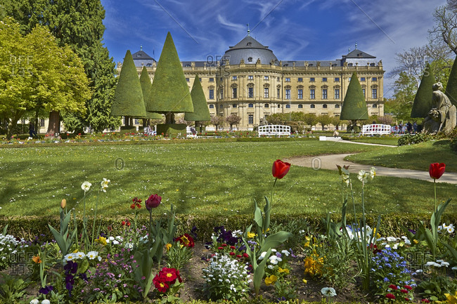 April 17, 2014: Hofgarten with Wuerzburg Residence in Wuerzburg, Lower Franconia, Bavaria, Germany, Europe