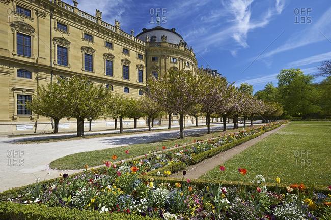 April 17, 2014: Hofgarten with Wuerzburg Residence in Wuerzburg, Lower Franconia, Bavaria, Germany, Europe