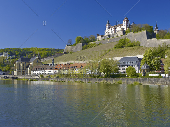 View over the Main river to the Marienberg Fortress in Wurzburg, Lower Franconia, Bavaria, Germany, Europe