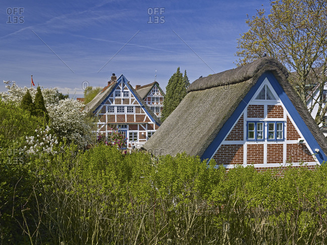Altlander half-timbered house in Steinkirchen, Altes Land, district of Stade, Lower Saxony, Germany, Europe