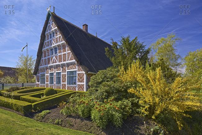 April 12, 2014: Altlander Hof in Steinkirchen, Altes Land, District of Stade, Lower Saxony, Germany, Europe