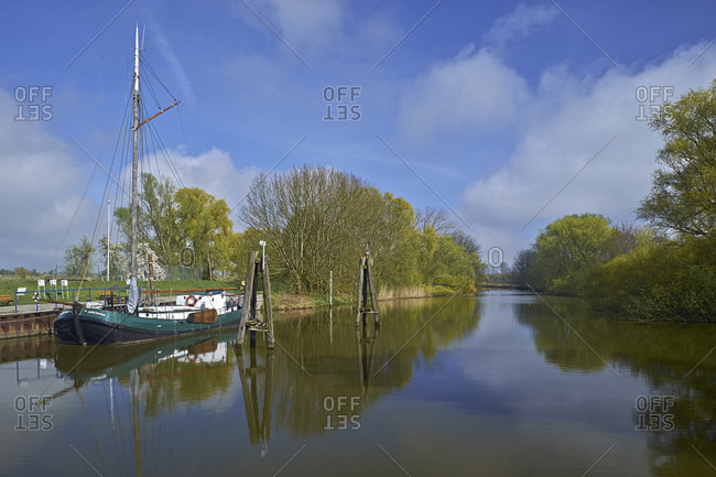 April 12, 2014: Museum ship Annemarie in the port of Borstel, district of Jork, Altes Land, Lower Saxony, Germany, Europe