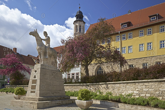 April 14, 2014: City museum in the Augustinian monastery with equestrian monument in Bad Langensalza, Thuringia, Germany, Europe
