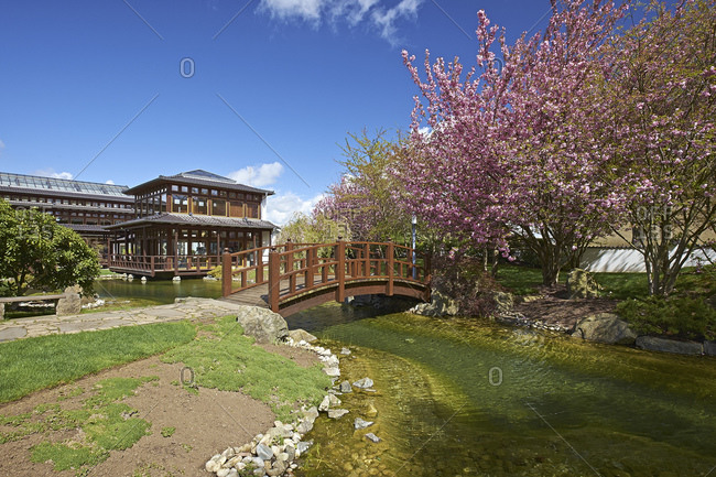 April 14, 2014: Japanese garden in Bad Langensalza, Thuringia, Germany, Europe