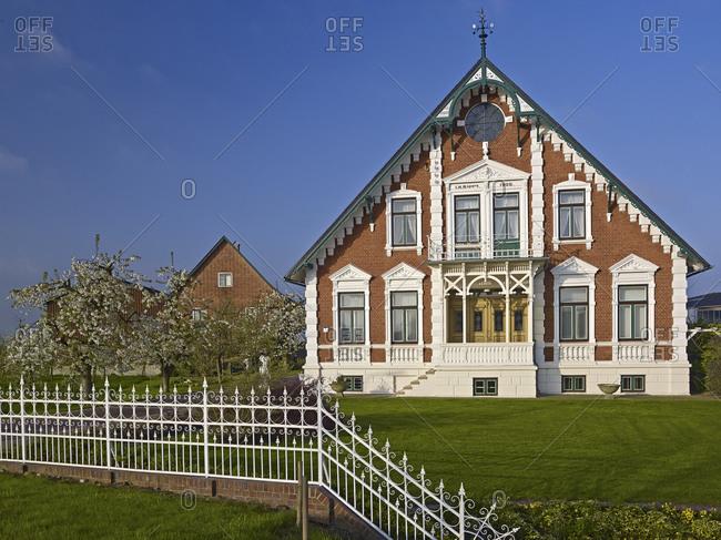 April 13, 2014: House near Borstel, district of Jork, Altes Land, Landkreis Stade, Lower Saxony, Germany, Europe