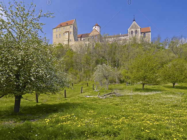Goseck Castle above the Saale Valley, Goseck near Freyburg, Burgenlandkreis, Saxony-Anhalt, Germany, Europe