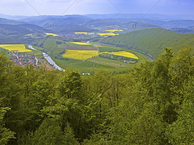 View from the Teufelskanzel (452m) to the Werra Loop near Lindewerra, Thuringia, Germany, Europe