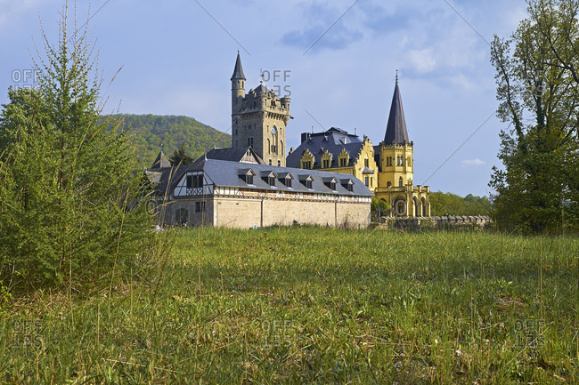 Rothestein Castle above the Werra Valley near Bad Sooden-Allendorf, Hesse, Germany, Europe
