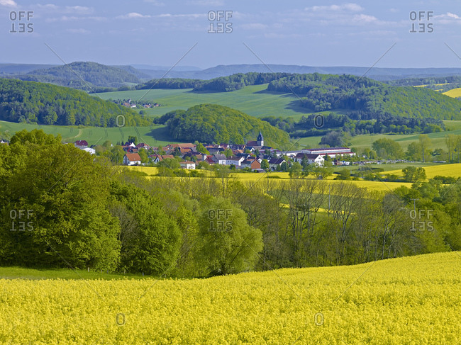 View at the Dieteroder Klippen over the Eichsfeld on armour with the Falkenstein, Thuringia, Germany, Europe