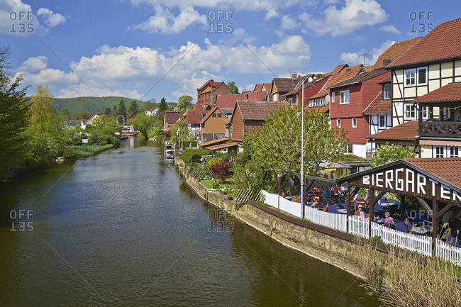 April 20, 2014: Houses on the Werra in the Allendorf district, Bad Sooden-Allendorf, Hesse, Germany, Europe