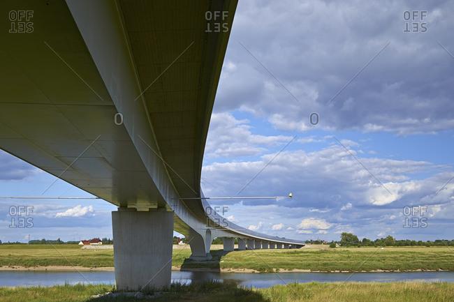New Elbe Bridge at Muhlberg / Elbe, Landkreis Elbe-Elster, Brandenburg, Germany